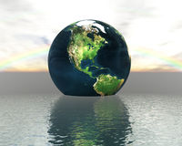 3D Globe On Water Royalty Free Stock Images