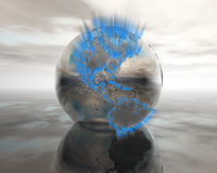 3D Globe On Water In Silver Royalty Free Stock Photography