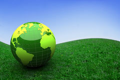 3d globe in a prairie Stock Images