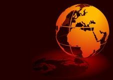 3D globe - rouge Images libres de droits