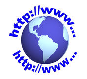 3d globe and  text - letters the Internet-address Royalty Free Stock Photography