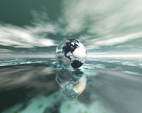 3D globe on water Royalty Free Stock Photo