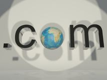3d globe and word dot com. A 3d concept of the world wide web Stock Photos