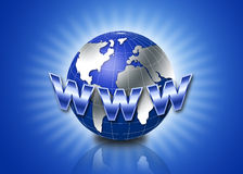3d globe with www text. 3d globe with glow in blue background Royalty Free Stock Photography