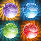 3D Globes - Background. Set of 3D globes with design element background Stock Photography