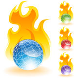 3D Globes - Fire Stock Photos