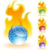 3D globi - fuoco Fotografie Stock