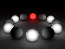 3D gloss spheres. On black background vector illustration