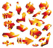 3D glossy gold orange arrow set Royalty Free Stock Photo