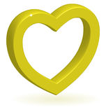 3D glossy golden heart. Stock Images