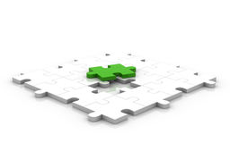 3D Glossy Puzzle Green Piece Up. 3D rendered puzzle game. Symbolize problems and solutions Stock Photo