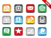 3d glossy simple media icons. Royalty Free Stock Photos
