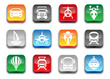 3d glossy simple transport icons. Royalty Free Stock Photo