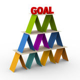 3d goal pyramid. 3d render of colorful pyramid with word goal on on the top Stock Photos