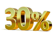 Free 3d Gold 30 Percent Discount Sign Royalty Free Stock Photos - 85326148