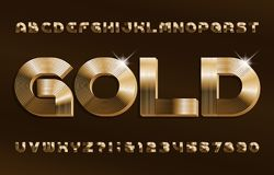 Free 3D Gold Alphabet Font. Shiny Golden Letters And Numbers In 70s Style. Stock Photography - 160967702