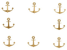 3d gold anchor photo frame Stock Images