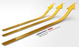 3D gold arrow grow up comparison set. This vector file may be downloaded for all kinds of professional uses,such as comparison between several years' Stock Photos