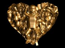 3D gold baby in heart. 3D image of a newborn baby surrounded by gold rose petals in the form of heart isolated over black background Royalty Free Stock Photos