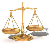 3d gold balance, the scales of justice. 3d Model of gold balance the symbolic scales of justice with clipping path included in file Royalty Free Stock Photo