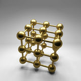 3d gold balls abstract background. 3d gold balls abstract on gray background Royalty Free Stock Images