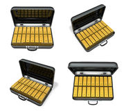 3d gold bar and bag array Stock Images