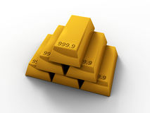 3D Gold Bars Stock Photography