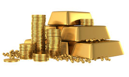 3d Gold Bars And Coins Royalty Free Stock Image