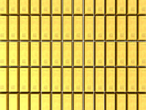 3D gold bars background. 3D render of gold bars stacked in rows forming a shiny background Royalty Free Stock Image