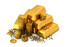 3d gold bars and coins. On white Stock Photo