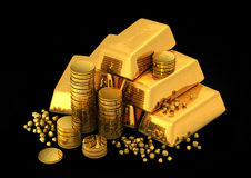 3d gold bars and coins. On black Royalty Free Stock Photo