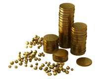 3d gold bars and coins Royalty Free Stock Photos