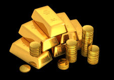 3d gold bars and coins. On black Royalty Free Stock Image
