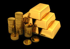 3d gold bars and coins. On black Stock Photos
