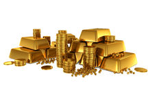 3d gold bars and coins. On white Royalty Free Stock Photography