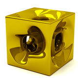 3d gold cube Royalty Free Stock Photo