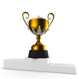 3d gold cups on podium Royalty Free Stock Photography