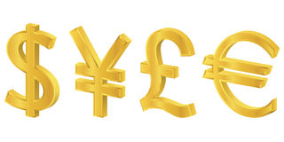 3D Gold Currency Symbols Stock Photo