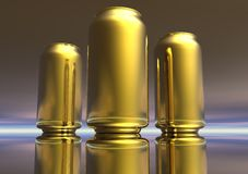 3D Gold Drink Can Collection Stock Photo
