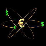 3D Gold Euro And Green Dollars Stock Images