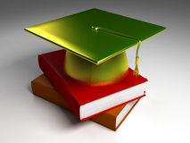 3D Gold Graduation Cap_Normal Books. Gold graduation cap on two hard cover books Royalty Free Stock Image