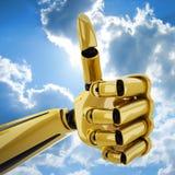 3d gold hand robotic thumb up Стоковые Фотографии RF