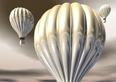 3D Gold Hot Air Balloons Stock Photography