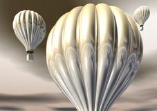3D Gold Hot Air Balloons Stock Photography