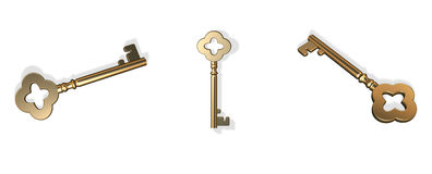 3D gold keys Royalty Free Stock Photos