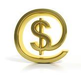 3D gold money online symbol Royalty Free Stock Photo