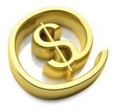 3D gold money online symbol Stock Photos