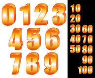 3D Gold numbers. Zero to ten. Ten to one hundred Stock Photos