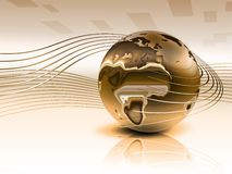 3d gold planet. With smooth lines - elegant background Stock Photo