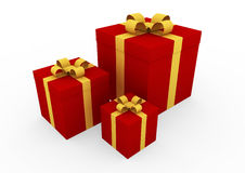 3d gold red gift box Stock Images